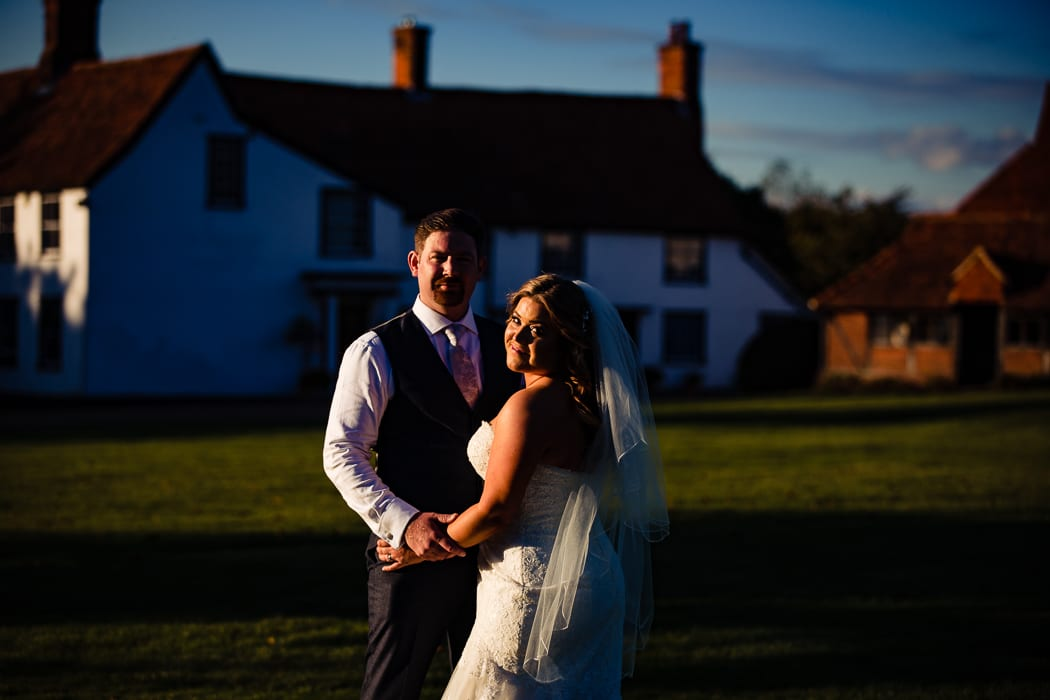 bride and groom in sun set - wedding photography Essex