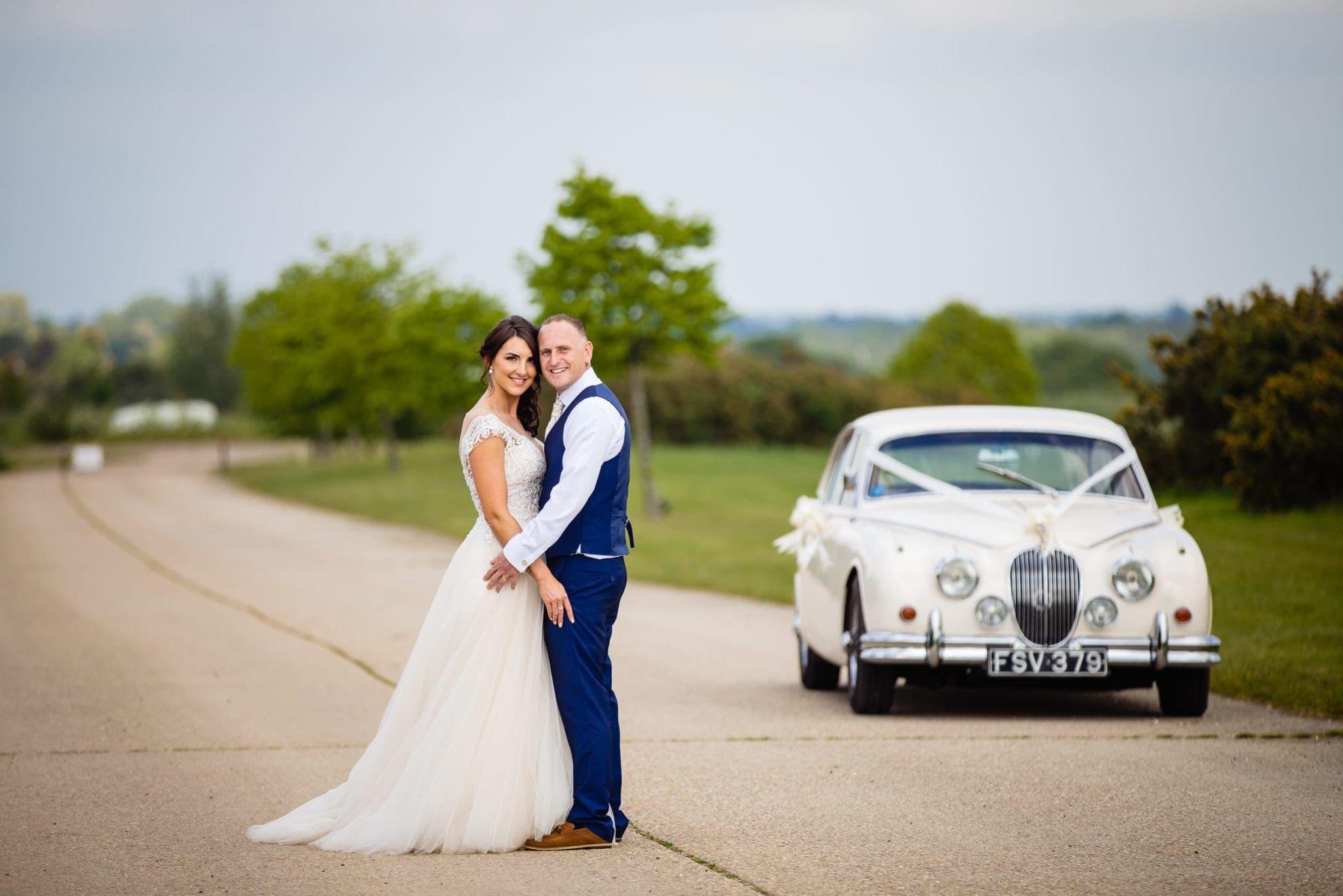 vintage car at essex wedding