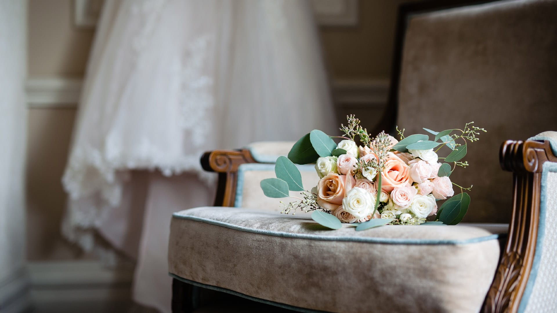 Wedding Bouquet On Chair - Wedding Photography Essex